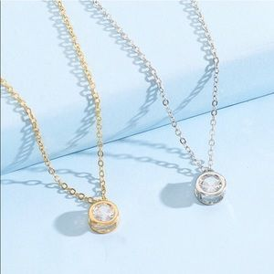 New  two artificial diamond pendant Necklace